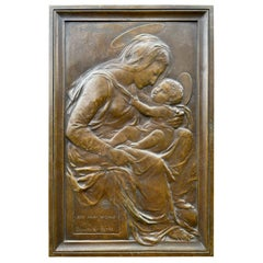 Antique Religious Bronze Wall Plaque of Holy Mary and Child after Donatello