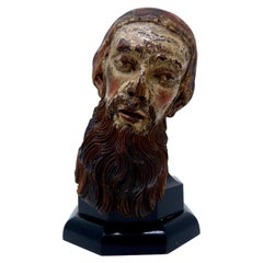 Antique Religious Carved Wood Saint Head, 19th Century