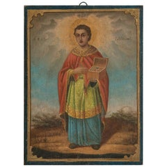 Antique Religious Icon Painting of Saint Martin on Board