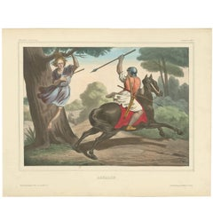 "Antique Religious Print ""No. 10"" Absalom, circa 1840"