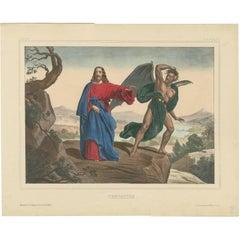 Antique Religious Print 'No. 11' The Temptation of Jesus, circa 1840
