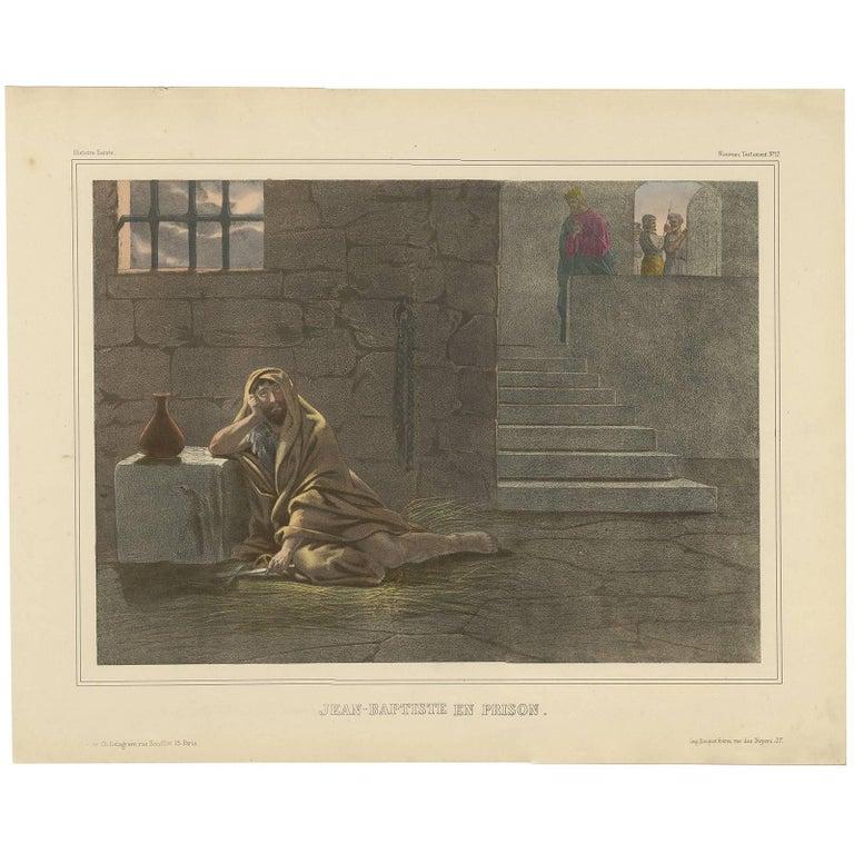 Antique Religious Print 'No. 17' Apostle Paul in Prison, circa 1840