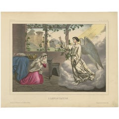 Antique Religious Print 'No. 2' The Annunciation, circa 1840
