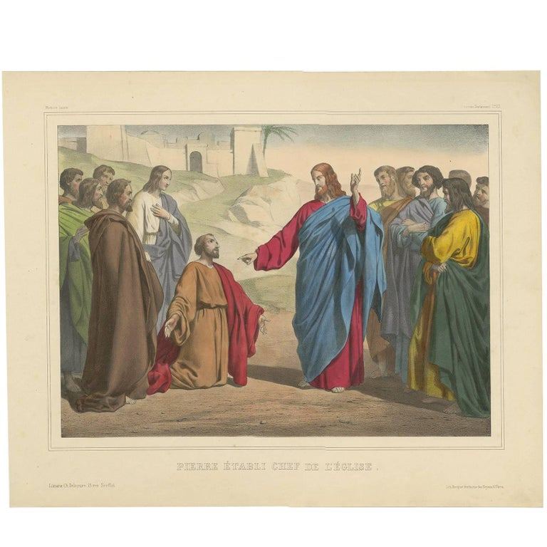 Antique Religious Print 'No. 23' Peter Appointed Head of the Church, circa 1840