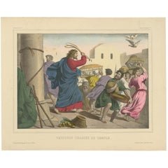 """Antique Religious Print """"No. 25"""" the Cleansing of the Temple, circa 1840"""