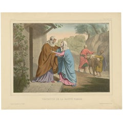 Antique Religious Print 'No. 3' Visitation of the Blessed Virgin Mary circa 1840