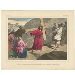 "Antique Religious Print ""No. 34"" Jesus Carrying the Cross, circa 1840"