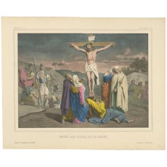 Antique Religious Print 'No. 36' Mary at the Foot of the Cross, circa 1840