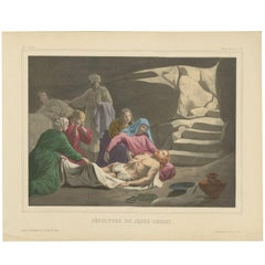 Antique Religious Print 'No. 37' The Burial of Jesus Christ, circa 1840