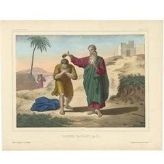 Antique Religious Print 'No. 4' Samuel anoints Saul, circa 1840