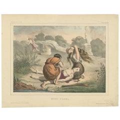 Antique Religious Print 'No. 4' the Death of Abel, circa 1840