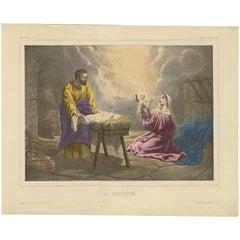 Antique Religious Print 'No. 4' The Nativity of Jesus, circa 1840