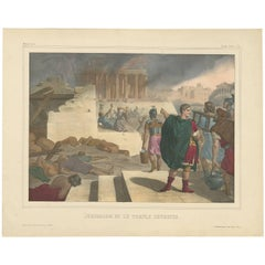 """Antique Religious Print """"No. 48"""" Jerusalem and the Destroyed Temple, circa 1840"""