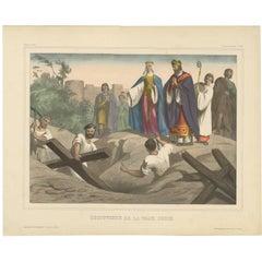 Antique Religious Print 'No. 49' Discovering the True Cross, circa 1840