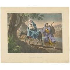 Antique Religious Print 'No. 8' the Escape to Egypt, circa 1840