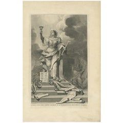Antique Religious Print 'The Law is Given by Moses' by A. Calmet, 'circa 1725'