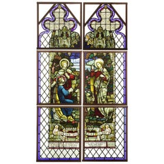 Antique Religious Stained Glass Leaded Window, 20th Century
