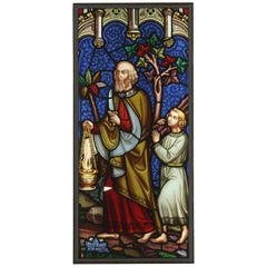 Antique Religious Stained Glass Panel, 20th Century
