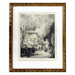 Antique Rembrandt van Rijn Death of Virgin Etching Dry Point Framed