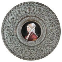 Antique Renaissance Embossed Platter with Painted Porcelain Portrait