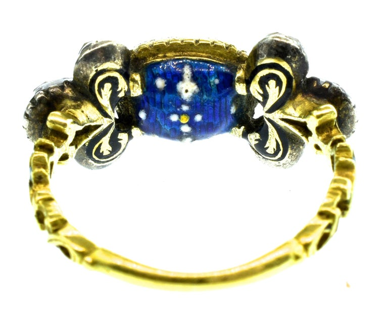 Baroque Antique Spinel, Gold and Silver Ring, circa 1750 For Sale