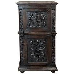 Antique Renaissance Oak Drop-Front Cabinet