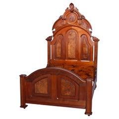 Antique Renaissance Revival Carved Walnut & Burl Full Bed Frame, c1880