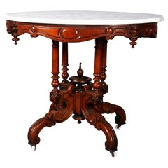 Antique Renaissance Revival Carved Walnut and Marble Center Table, circa 1880