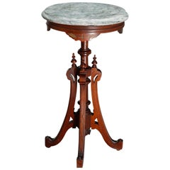 Antique Renaissance Revival Carved Walnut Marble Top Fern Stand, circa 1890