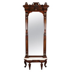 Antique Renaissance Revival Ebonized and Gilt Walnut and Marble Pier Mirror