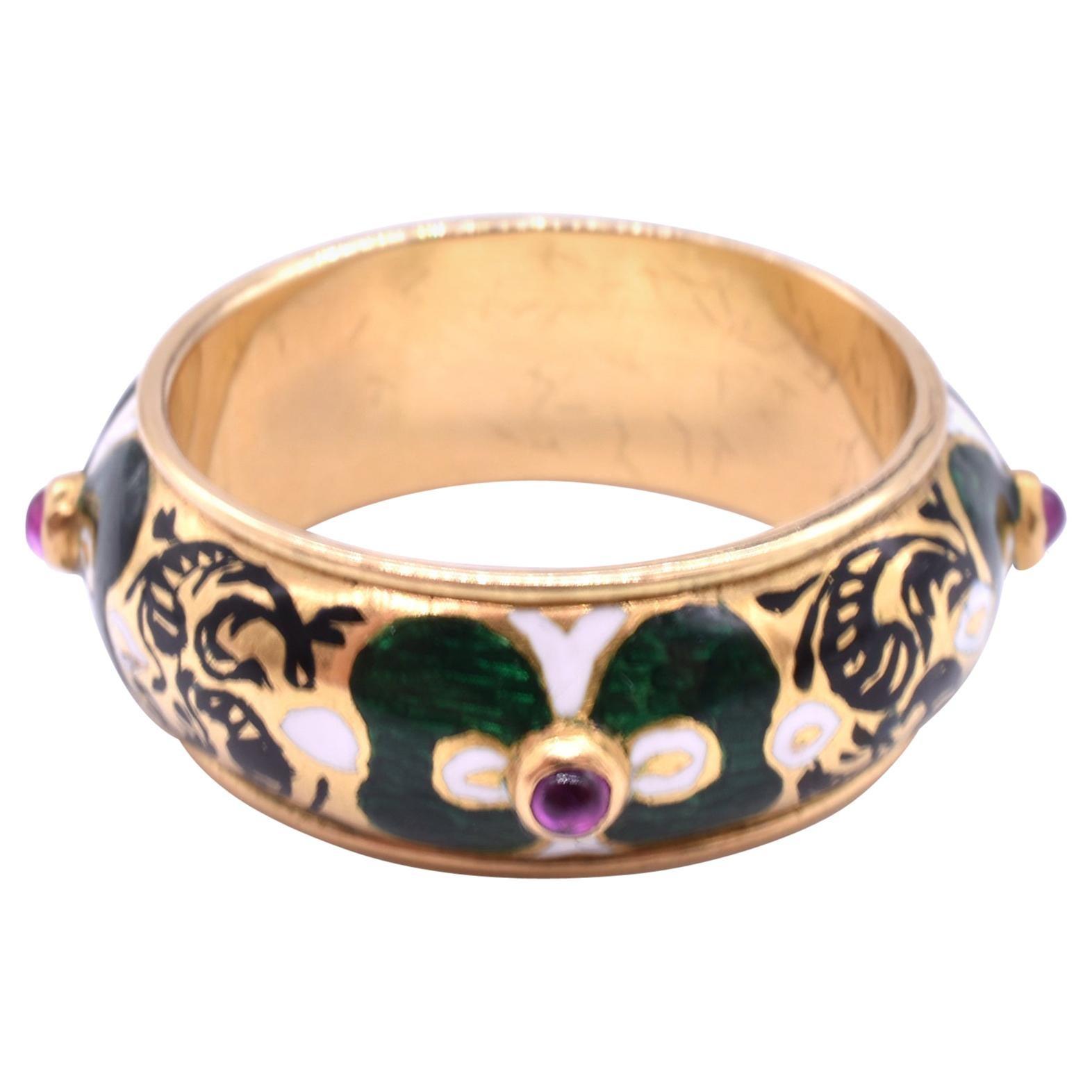 Antique Renaissance Revival Enamel and Ruby Ring