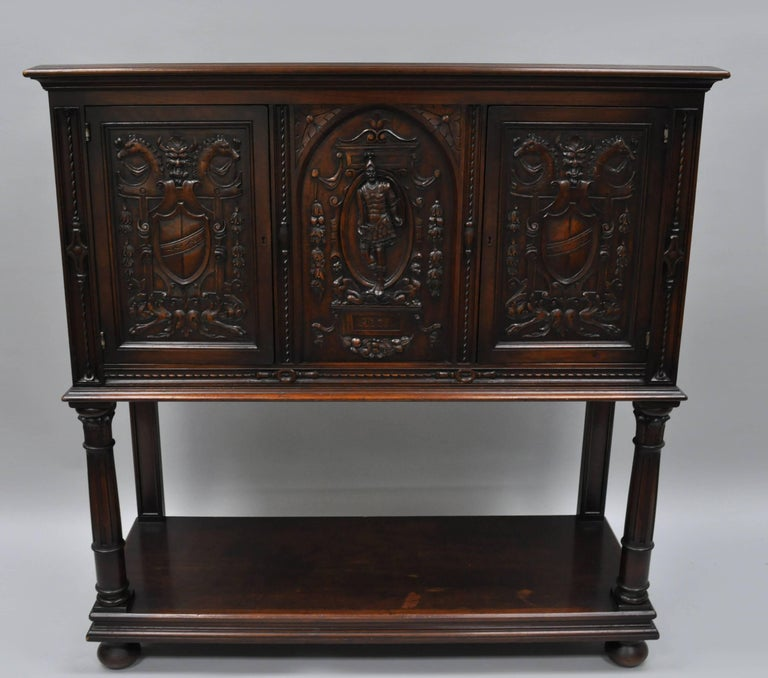 Antique Renaissance Revival Figural Carved Walnut Cabinet Sideboard Cupboard For Sale 5