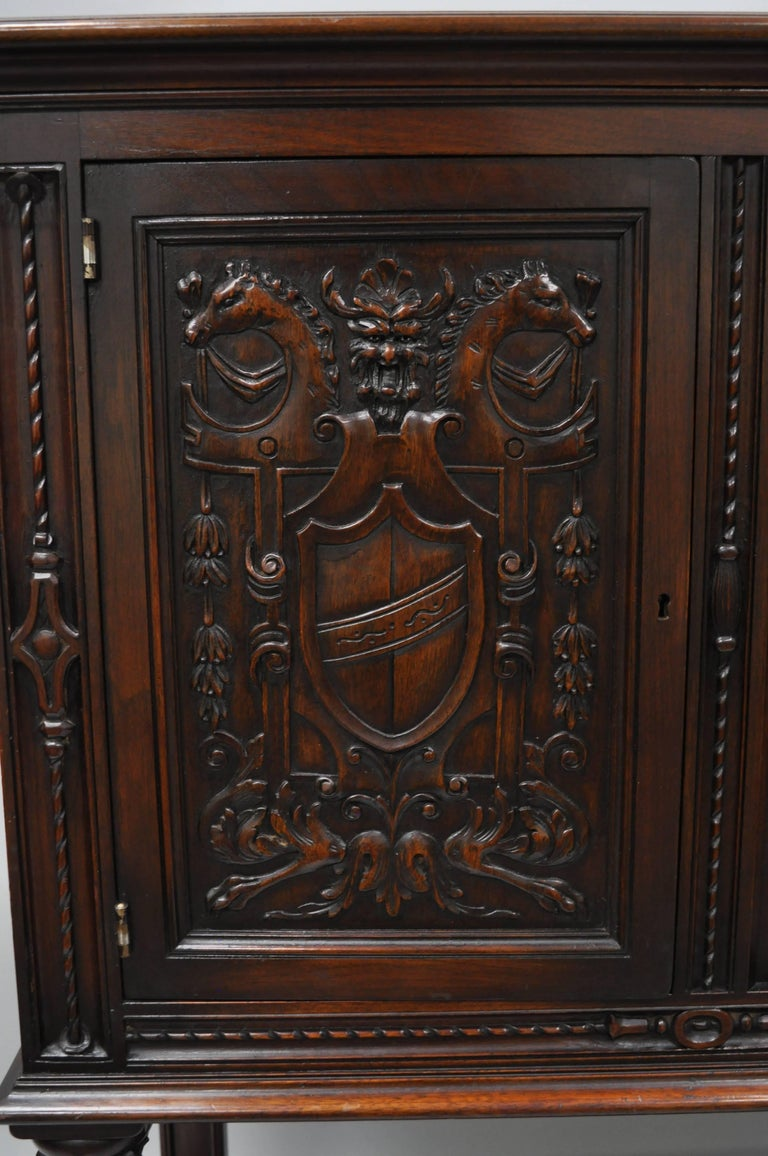 European Antique Renaissance Revival Figural Carved Walnut Cabinet Sideboard Cupboard For Sale