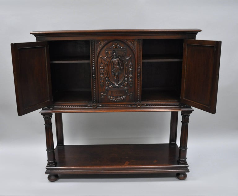 Antique Renaissance Revival Figural Carved Walnut Cabinet Sideboard Cupboard In Good Condition For Sale In Philadelphia, PA