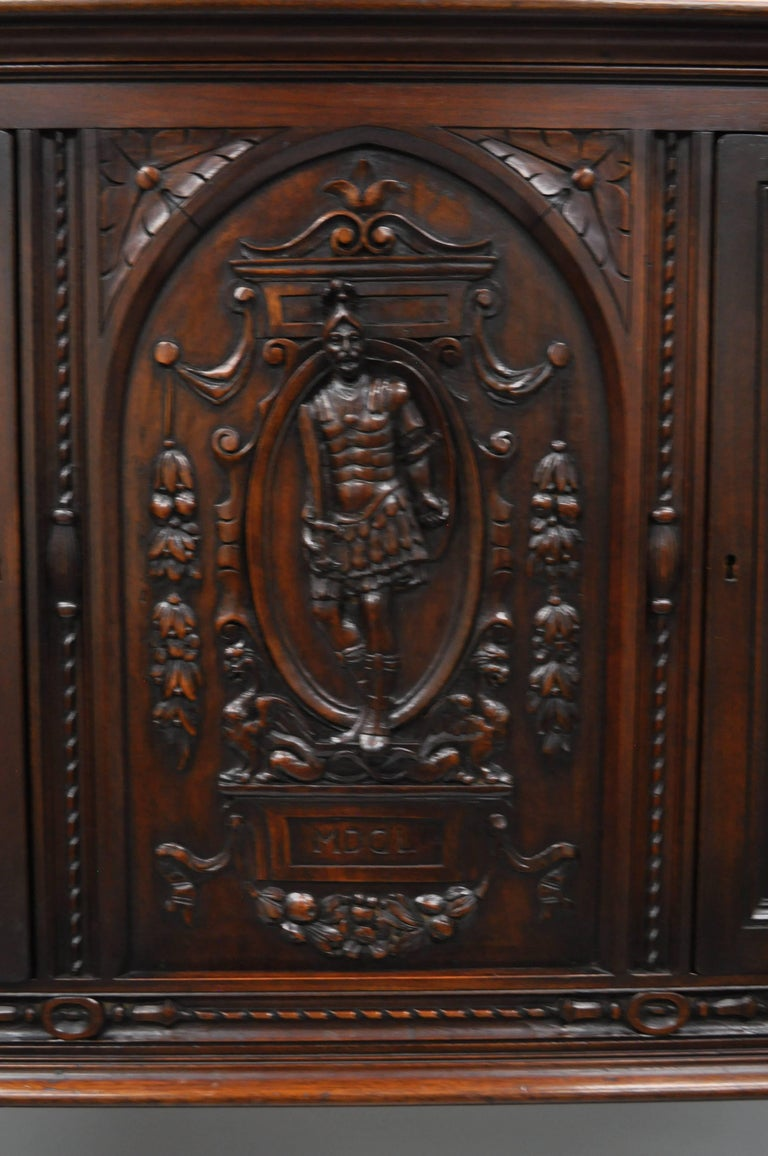 20th Century Antique Renaissance Revival Figural Carved Walnut Cabinet Sideboard Cupboard For Sale
