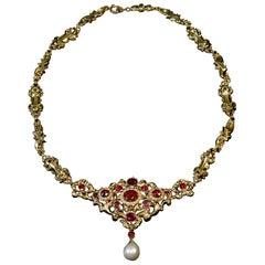 Antique Renaissance Revival Garnet Pearl Gold Necklace