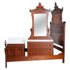 Antique Renaissance Revival Walnut, Burl and Marble Bedroom Set, circa 1890