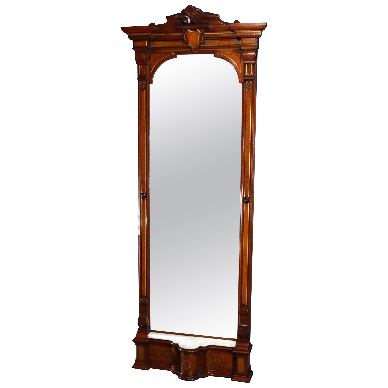 Antique Renaissance Revival Walnut, Burl and Marble Parcel-Gilt Pier Mirror