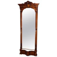 Antique Renaissance Revival Walnut, Burl and Marble Parcel-Gilt Pier Mirror