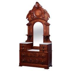 Antique Renaissance Revival Walnut & Burl Marble Top Drop Center Dresser, c1880