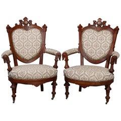 Antique Renaissance Revival Walnut & Burl Parlor Armchairs with Marquetry, c1880