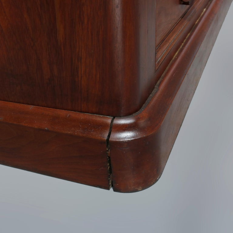 Antique Renaissance Revival Walnut Double Door Bookcase with Drawers, c1880 8