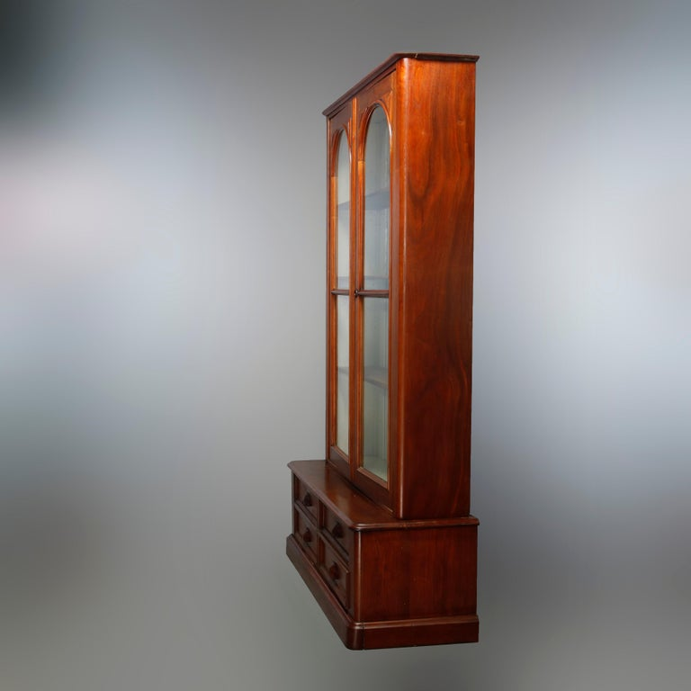 Antique Renaissance Revival Walnut Double Door Bookcase with Drawers, c1880 9