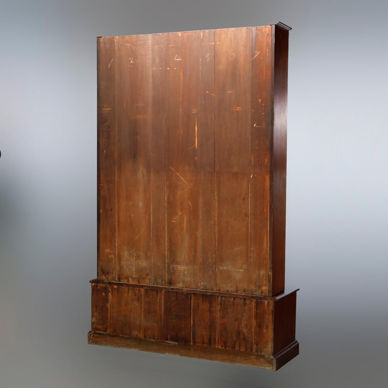 Antique Renaissance Revival Walnut Double Door Bookcase with Drawers, c1880 10