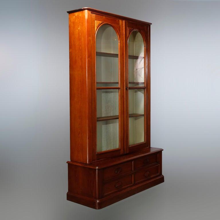 Antique Renaissance Revival Walnut Double Door Bookcase with Drawers, c1880 11