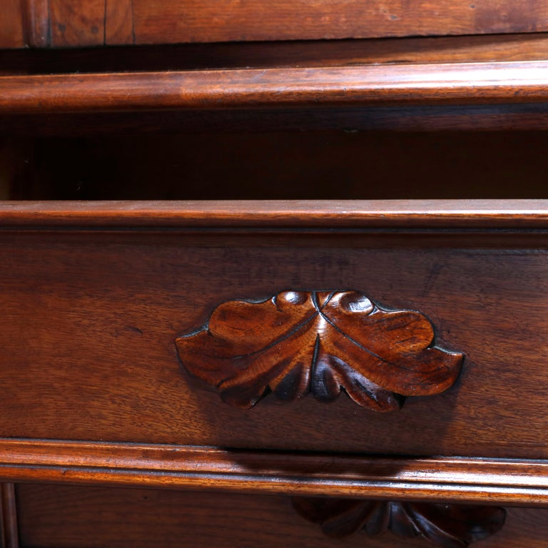 Antique Renaissance Revival Walnut Double Door Bookcase with Drawers, c1880 In Good Condition In Big Flats, NY