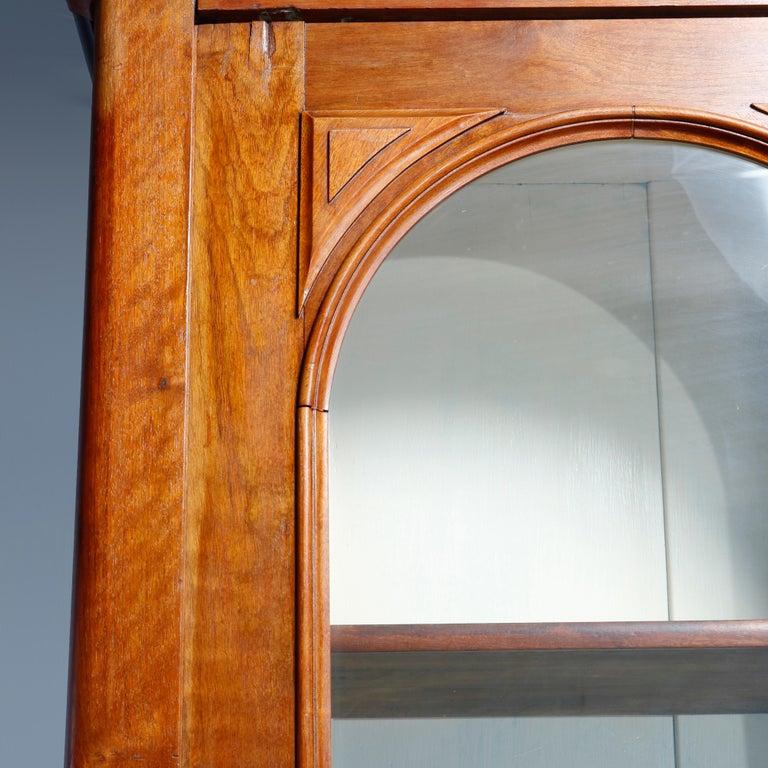 19th Century Antique Renaissance Revival Walnut Double Door Bookcase with Drawers, c1880