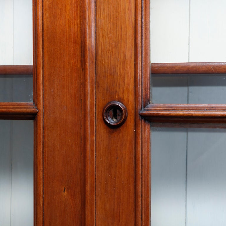 Metal Antique Renaissance Revival Walnut Double Door Bookcase with Drawers, c1880