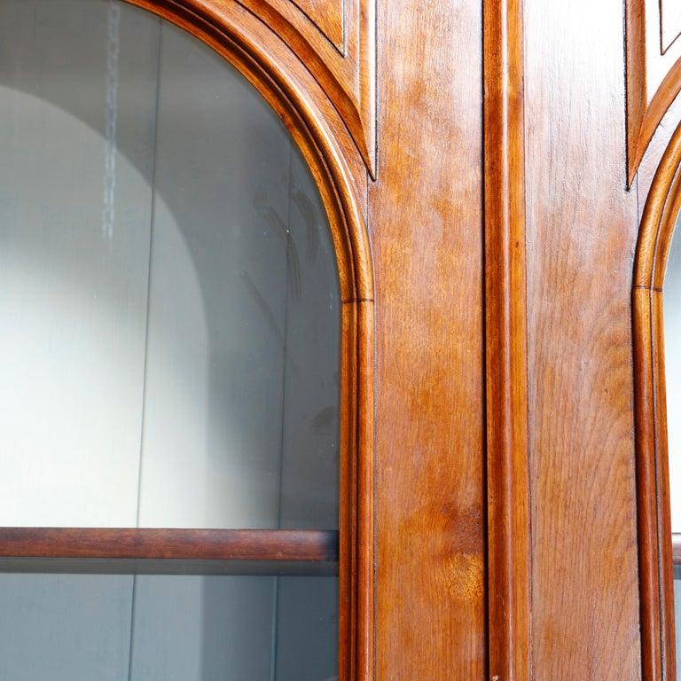 Antique Renaissance Revival Walnut Double Door Bookcase with Drawers, c1880 2