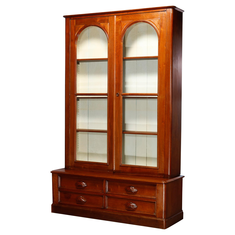 Antique Renaissance Revival Walnut Double Door Bookcase with Drawers, c1880